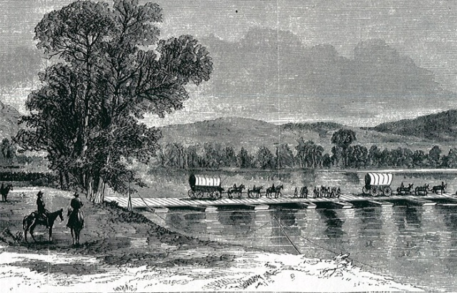 12. Union forces crossing the Chattahoochee River