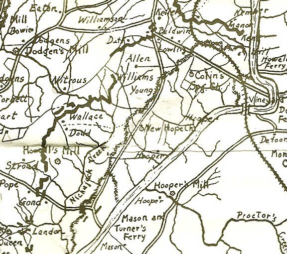 6. Detail 1864 map showing River Line