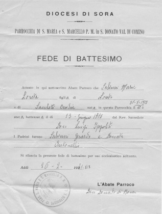 Maria Salvucci Baptismal Certificate