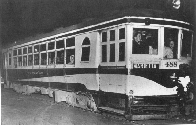 19. Last trolley to operate on the North Atlanta & Marietta Streetcar line , January 31, 1947
