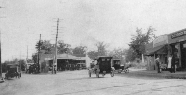 1b. Atlanta Road at Memorial Place in downtown Smyrna, with D.C. Osborne's Service Station in the foreground, c. 1915