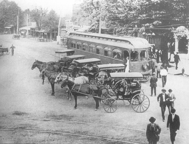 3b.Streetcar and horse-drawn conveyances at Glover Park in Marietta