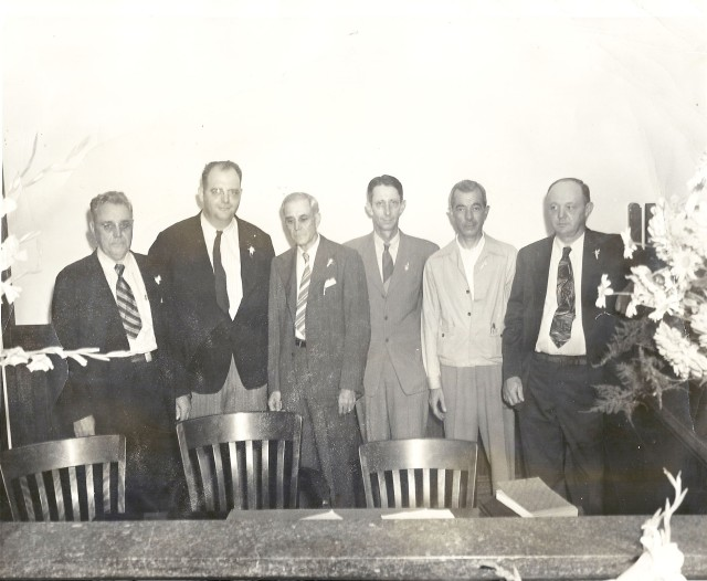 48b. Foundingl Board, second Bank of Smyrna, August 1946 l to r- Paul Gresham, B. F. Reed, G. C. Green, James W. Nash, Walter T. Crowe, Jr. & D. C. Landers