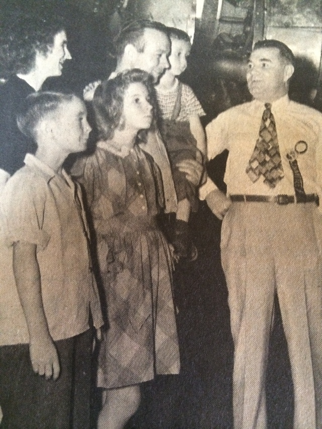 10. The Roy Wood family touring the Bell Bomber Plant with Larry Bell President of Bell Aircraft, 1944