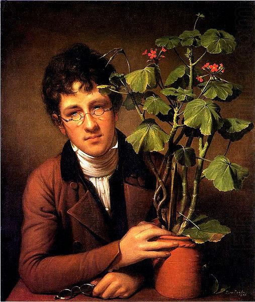 27b. Raphaele Peale, Portrait of his brother Rubens Peale with a geranium