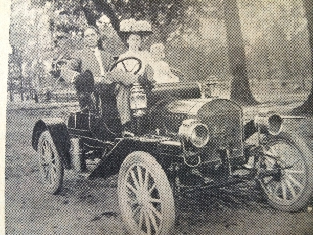 6. Mr. & Mrs. A.C. White and daughter in 1911 Baby Maxwell automobile bought for mail route, SH, 11-8-61, p. 18