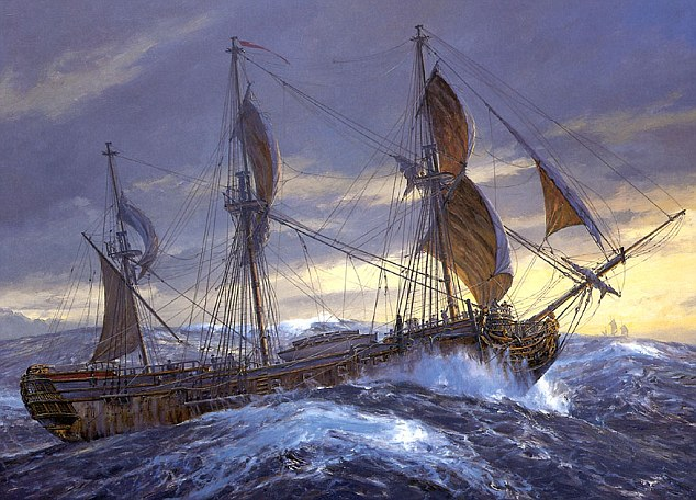 8. British ship at sea c. 1740