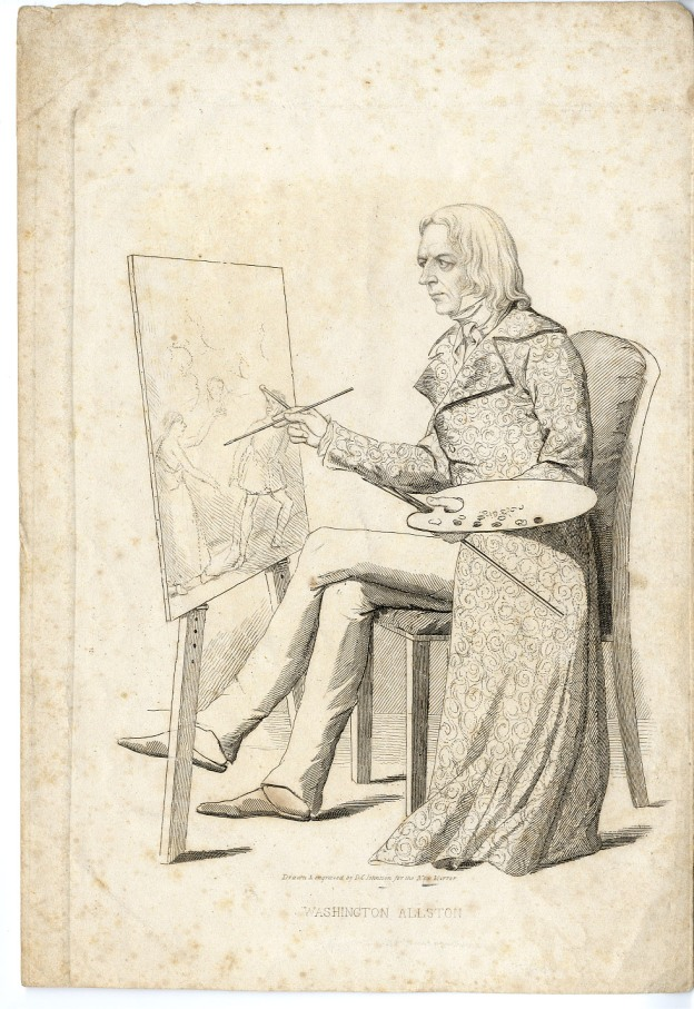 A7. David Claypoole (1799-1865), engraving, Washington Allston at his Easel