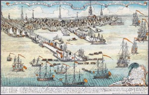 C1. Boston's Long Wharf. 1768 engraving by Paul Revere