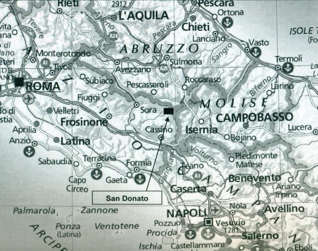 Map showing location of San Donato val di Comino