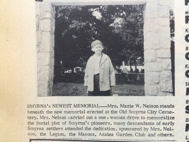 11. Mazie Whitfield Nelson at Memorial Cemetery Gateway dedication 10-14-65, p. 1