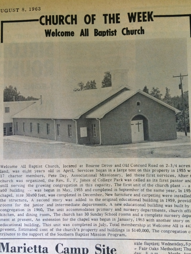 13. All Baptist Church, Bourne Drive and Old Concord Road, SH 8-8-63, p. 1b