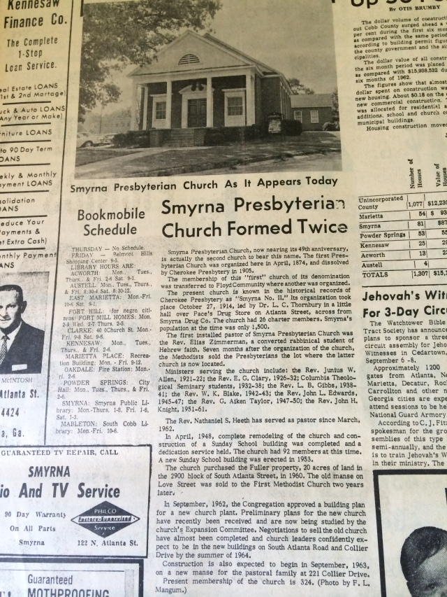 13. Article w: image Smyrna Presbyterian Church Formed Twice' SH, 8-22-63, p. 10bIMG_0721