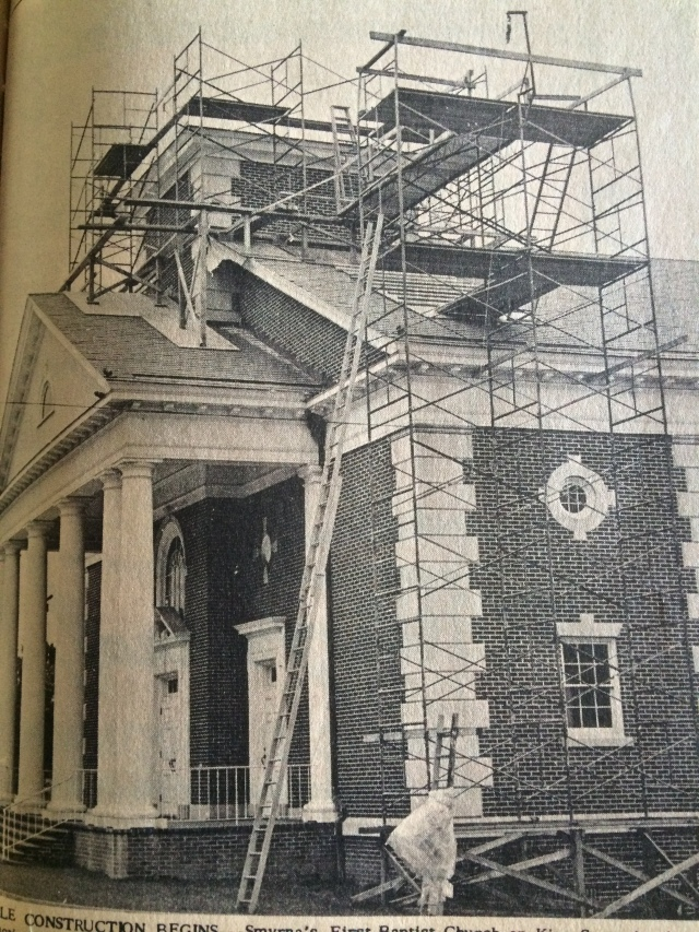 13. First Baptist Church steeple under construction, SH 7-15-65, p. 1