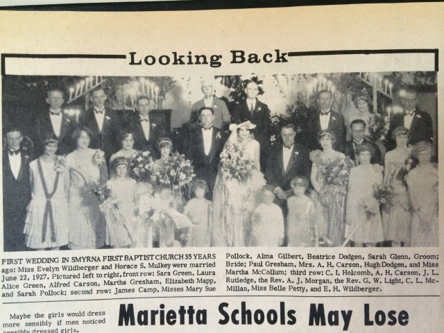 13. First wedding in Smyrna Baptist Church, 1926, SH, 12-20-62, Miss Evelyn Wildbridge & Horave L. Mulkey,