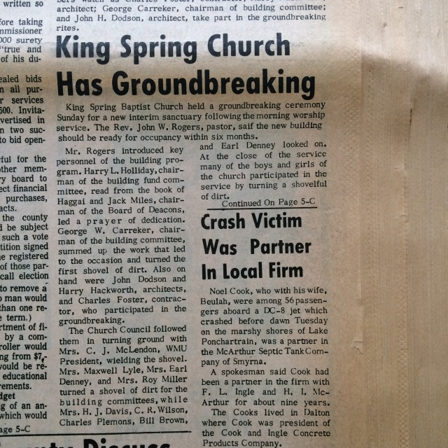 13. King Springs Church Groundbreaking 2, SH 2-27-64, p. 1