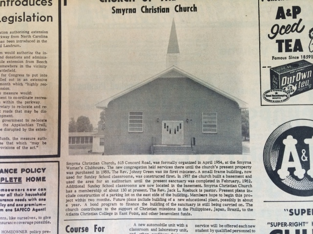 13. Smyrna Christian Church SH, 8-1-63, p. 3b