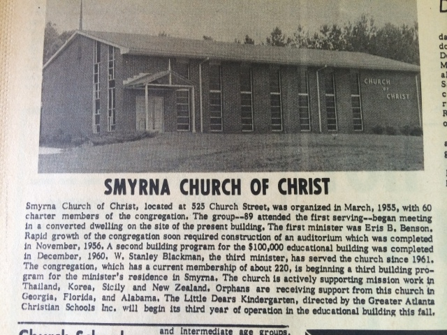 13. Smyrna Church of Christ, 525 Church Street SH 7-11-63, p. 12