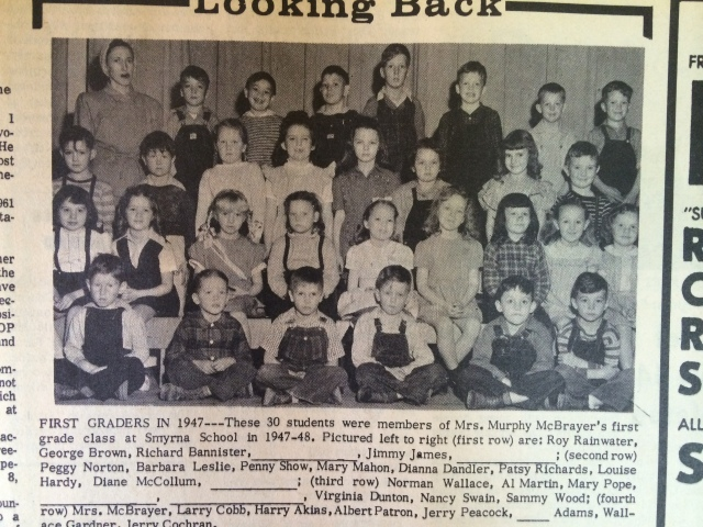 13. Smyrna School, 1947, Mrs. Murphy McBrayer's first grade class SH 7-11-63, p. 1b