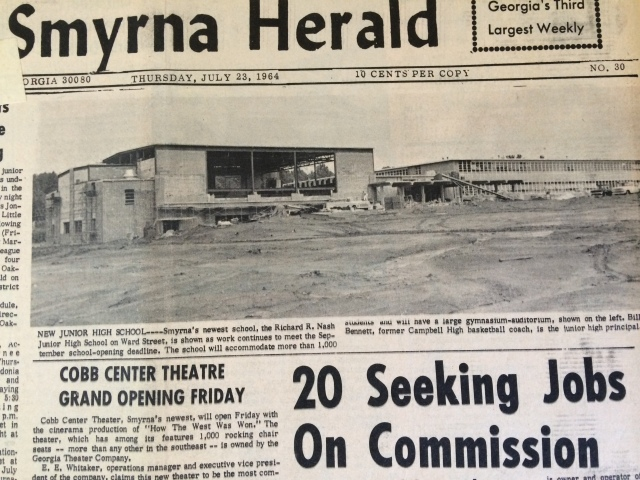 22. Nash Junior High School Under Construction, Smyrna's first Junior High School SH 7-23-64 1