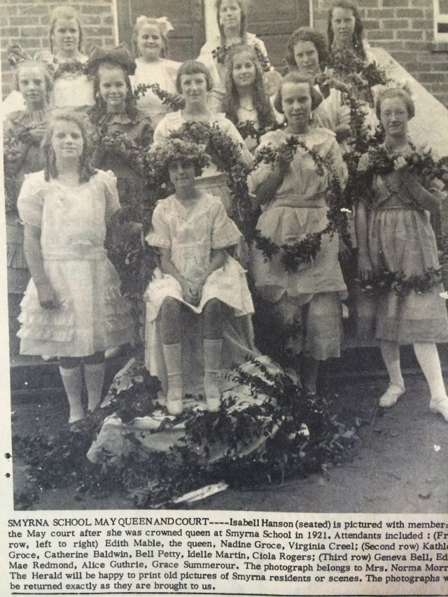 22. Smyrna School May Queen and Court, 1921, SH, 5-16-63, p. 1-b