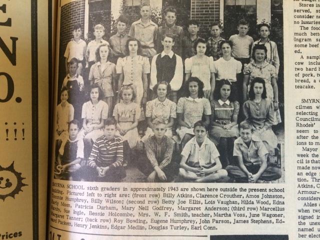 22. Smyrna School, sixth grade, c. 1943 SH 7-25-63 p. 8b