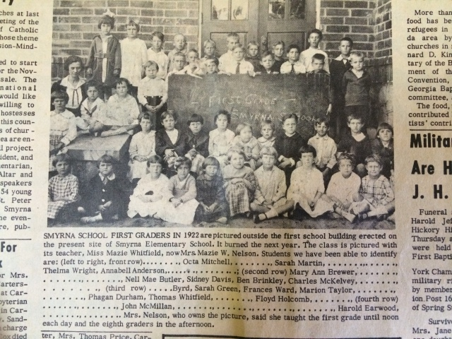 22. Smyrna School students, 1926 with identities.