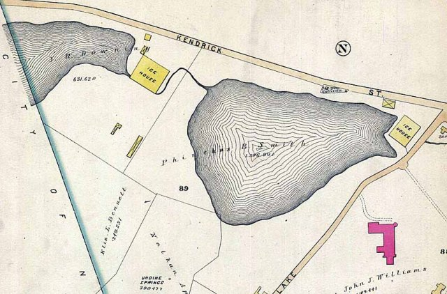 Map of Chandler's Pond area showing the two ice houses