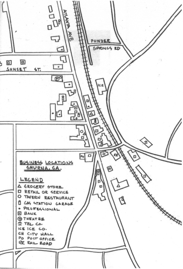 Map of downtown Smyrna from the Georgia Tech Survey, July 1952