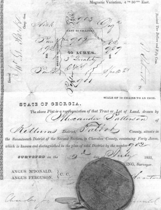 1832 Cherokee Land Lottery Certificate