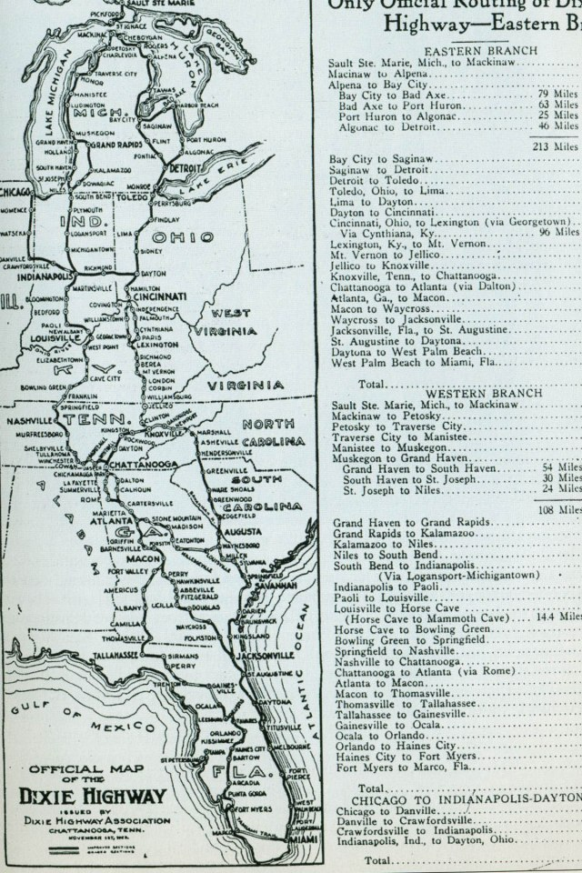 2. Map of the Dixie Highway, one of the nation's first interstate roadways linking Florida to the middle west