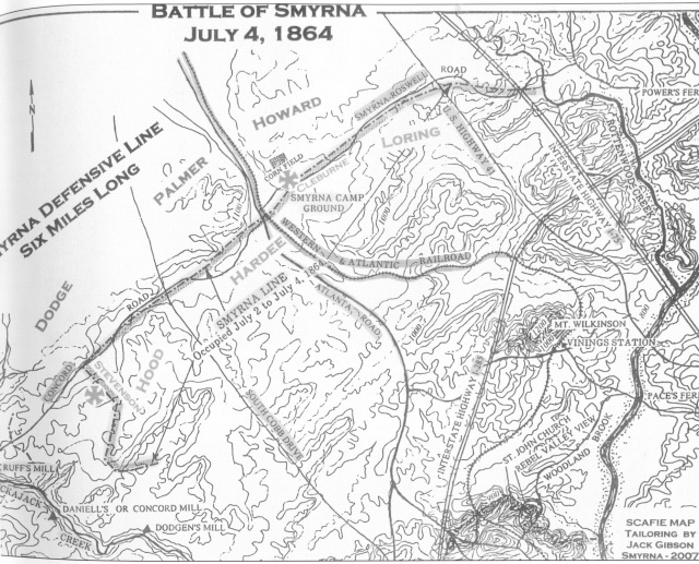 26.. Battle of Smyrna Map, July 4, 1864