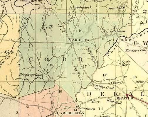 29. 1839 map of Cobb County showing Atlanta Road