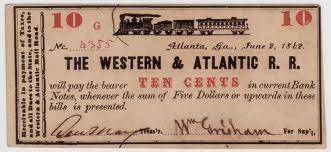 7. Western & Atlanta Railroad stock certificate, 1862
