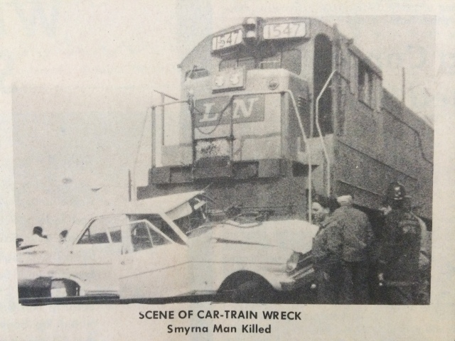 9.Car struck by train at crossing opposite Belmont Hills Shopping Center (Memphis G. McDaniell) SN 3-25-70, p. 1