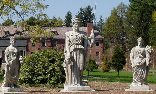Milmore statues sculpted to adorn Boston's Horticultural Hall, now at Elmbank in Wellesley Mass.
