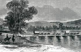 Union troops crossing the Chattahoochee River