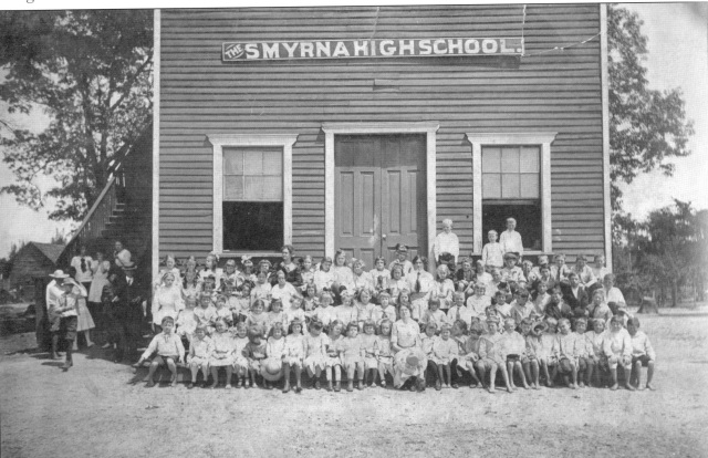 44.Smyrna High School when it was situated  in the Old Academy Building. The Wooden front added to the brick building in 1905 when purchased by city..jpeg